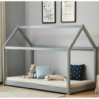An Image of Bellerby Wooden Single House Bed In Grey