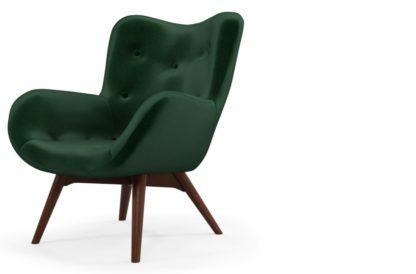 An Image of Custom MADE Doris Accent Armchair, Bottle Green Velvet with Dark Wood Legs