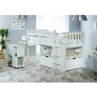 An Image of Gabriella Mid Sleeper Bed In White With Storage And Desk