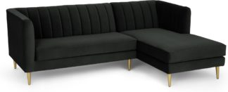 An Image of Amicie Right Hand Facing Chaise End Corner Sofa, Dark Anthracite Velvet