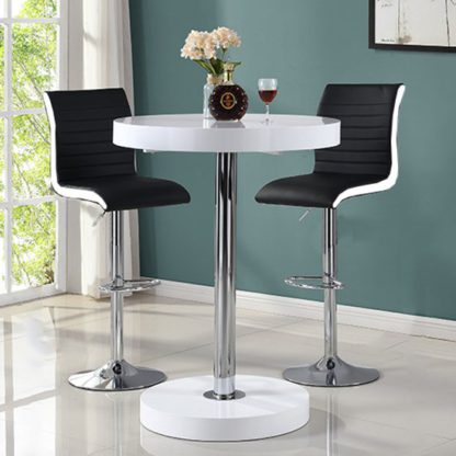 An Image of Havana Bar Table In White With 2 Ritz Black And White Bar Stools