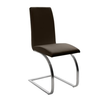 An Image of Maui Brown Pu Dining Chair With Silver Finish Legs