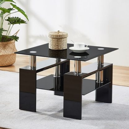 An Image of Kontrast Black Glass Side Table With High Gloss Legs