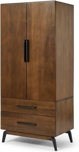 An Image of Lucien 2 Door Wardrobe, Mango Wood