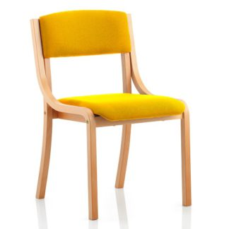 An Image of Charles Office Chair In Yellow And Wooden Frame