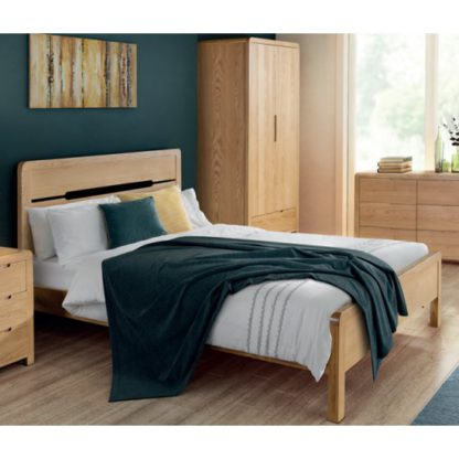 An Image of Curve Wooden Double Bed In Oak