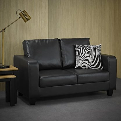 An Image of Canes Faux Leather 2 Seater Sofa In Black