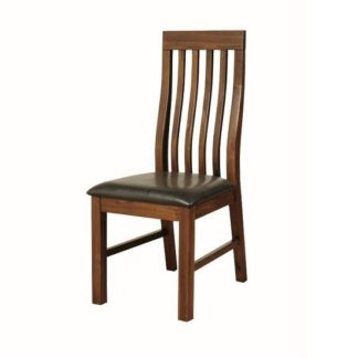 An Image of Ross Slatback Faux Leather Dining Chair In Acacia Finish