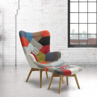 An Image of Kendal Arm Chair With Stool In Patched And Wooden Legs