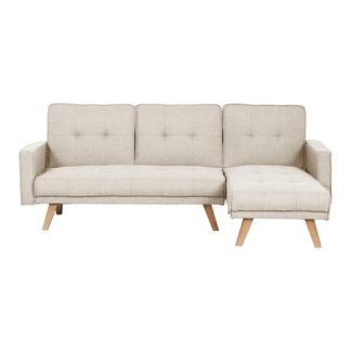 An Image of Cornis Corner Sofa Bed In Beige Fabric With Wooden Legs