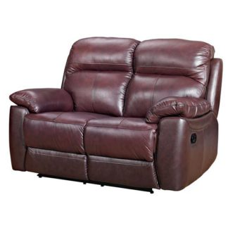 An Image of Aston Leather 2 Seater Fixed Sofa In Chestnut
