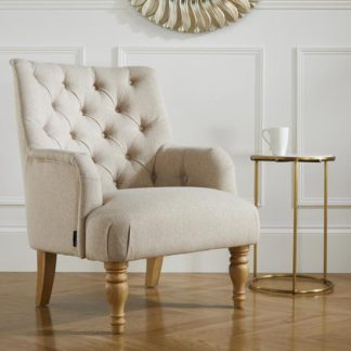 An Image of Padstow Fabric Lounge Chaise Armchair In Wheat