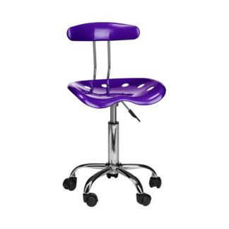 An Image of Hanoi Office Chair In Purple ABS With Chrome Base And 5 Wheels