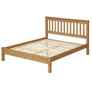 An Image of Corina Double Size Slatted Lowend Bed In Antique Wax Finish