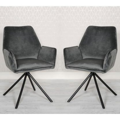 An Image of Uno Grey Velvet Fabric Dining Chairs In A Pair