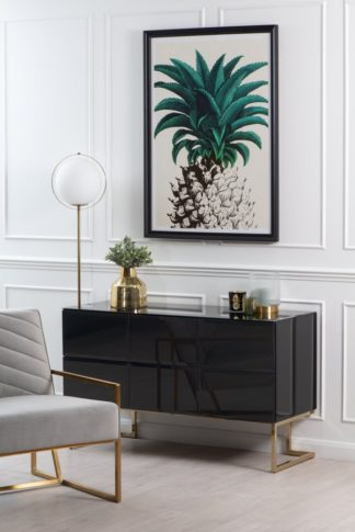 An Image of Lorenzo Toughened Black Chest of Drawers