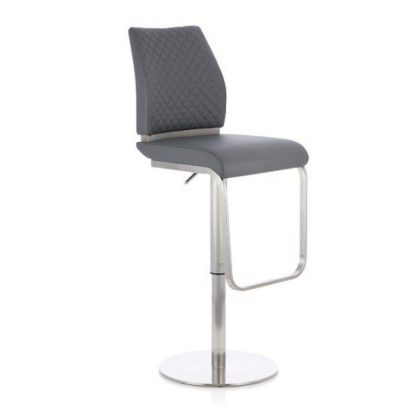 An Image of Lillian Bar Stool In Grey Faux Leather And Stainless Steel Base