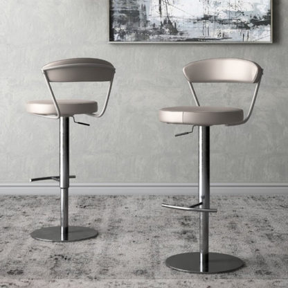 An Image of Gino Taupe Faux Leather Gas-lift Bar Stools In Pair