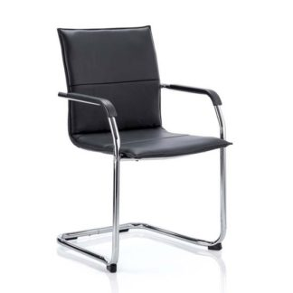 An Image of Echo Leather Cantilever Office Visitor Chair In Black With Arms