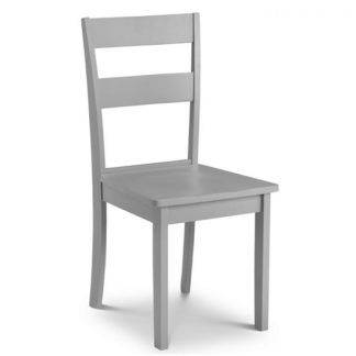 An Image of Devanna Wooden Dining Chair In Grey Lacquer Finish