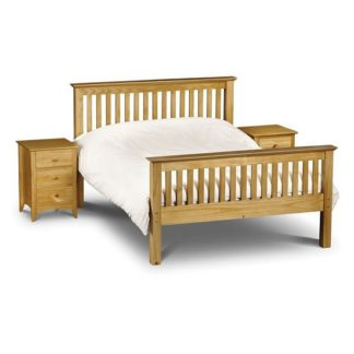 An Image of Velva Wooden Double Size High Foot Bed In Low Sheen Lacquer