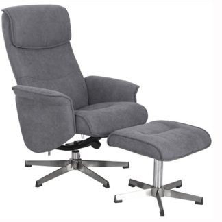 An Image of Rayna Recliner Chair With Footstool In Grey