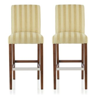 An Image of Alden Bar Stools In Oatmeal Fabric And Walnut Legs In A Pair