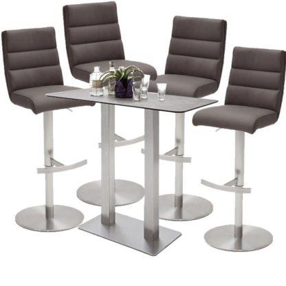 An Image of Soho Glass Bar Table With 4 Hiulia Brown Stools