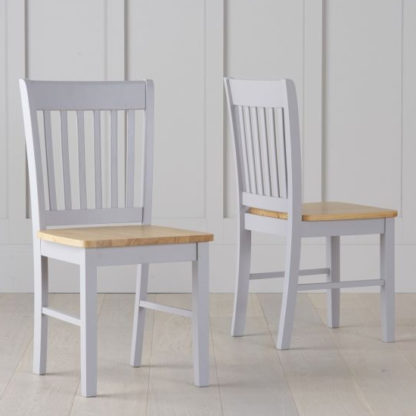 An Image of Botein Oak And Grey Dining Chairs In Pair