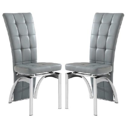 An Image of Ravenna Dining Chair In Grey Faux Leather in A Pair