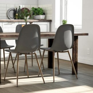 An Image of Copley Grey Plastic Dining Chairs In Pair