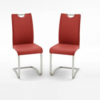 An Image of Koln Dining Chair In Red Faux Leather in A Pair