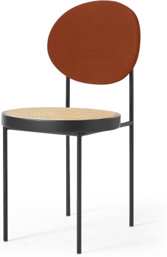 An Image of Rumana Dining Chair, Cane & Nutmeg Orange Velvet