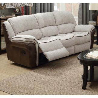 An Image of Lerna Fusion Fabric 3 Seater Sofa In Mink