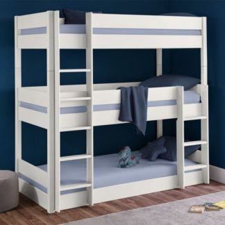 An Image of Trio Wooden Bunk Bed In Surf White