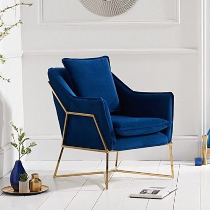 An Image of Baron Modern Accent Chair In Blue Velvet With Gold Frame