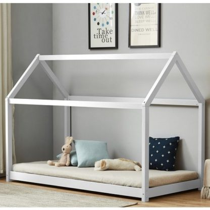 An Image of Bellerby Wooden Single House Bed In White