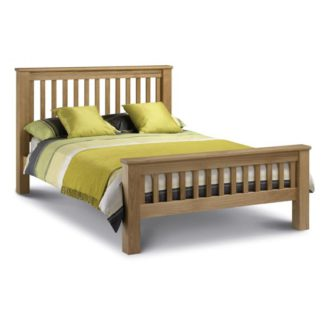 An Image of Amsterdam Wooden High Foot End Double Bed In Oak