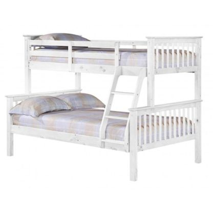 An Image of Porto Triple Wooden Bunk Bed In White