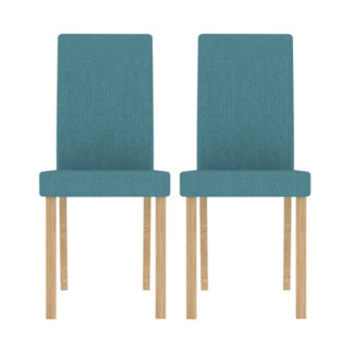 An Image of Anna Teal Finish Dining Chair In Pair