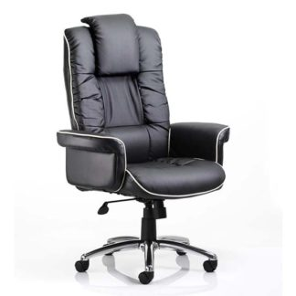 An Image of Chelsea Leather Executive Office Chair In Black With Arms