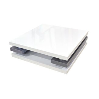 An Image of Crossana Coffee Table In White Gloss With Chrome Intermediaries