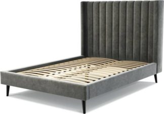 An Image of Custom MADE Cory Double size Bed, Steel Grey Velvet with Black Stained Oak Legs