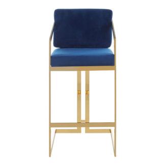 An Image of Azaltro Velvet Bar Stool In Blue With Gold Metalframe