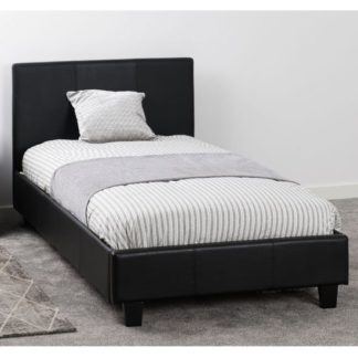 An Image of Prado Faux Leather Single Bed In Black