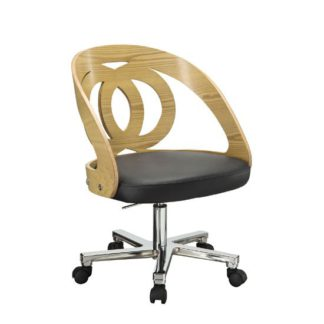 An Image of Juoly Oak Finish Black Faux Leather Office Chair