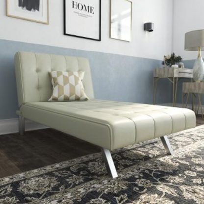 An Image of Emily Faux Leather Chaise Single Sofa Bed In Vanilla