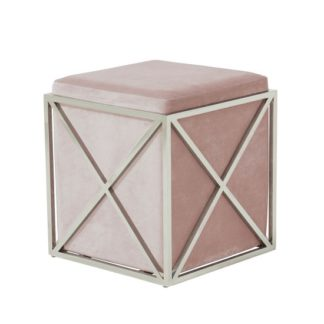 An Image of Farran Stool In Pink Velvet With Polished Stainless Steel