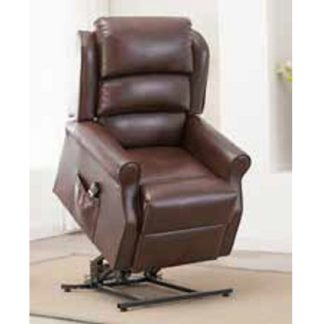An Image of Curtis Rise And Recliner Sofa Chair In Brown Faux Leather