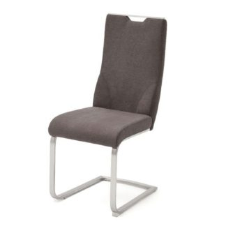 An Image of Jiulia Fabric Cantilever Dining Chair In Brown